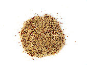 Raw quinoa seeds isolated on white background, top view, close-up