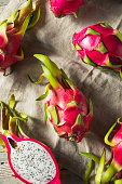 Raw Red Organic Dragon Fruit in a Bunch