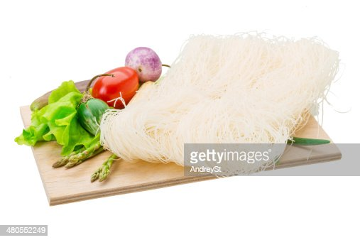 Raw rice noodles : Stock Photo