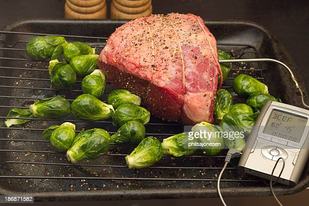 Raw Roast Beef and Brussels Sprouts