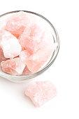 Stack of raw rose quartz gemstones