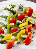 Raw, Rosemary Vegetable Skewers