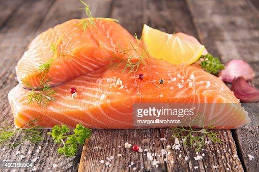 raw salmon fillet : Stock Photo