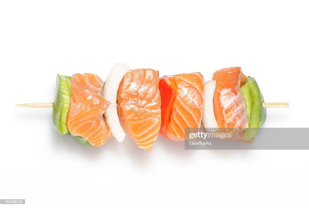 Raw salmon kebab