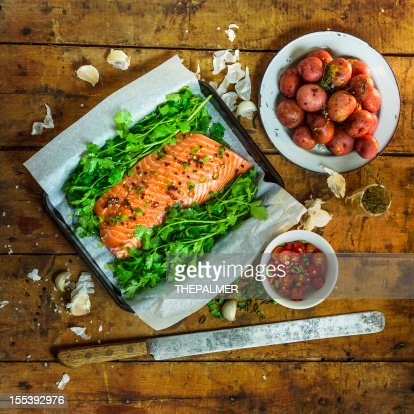raw salmon ready for oven