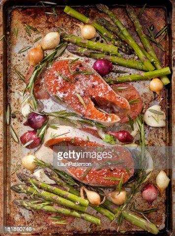 Raw Salmon Steaks in a Roasting Pan