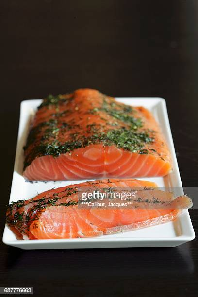 Raw salmon with dill