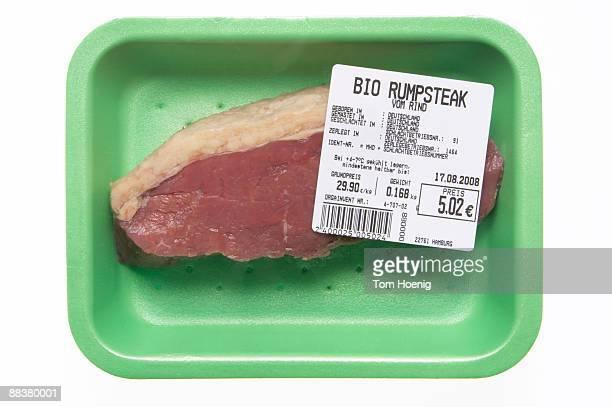 Raw steak in styrofoam plate, close-up