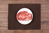 A raw steak on a plate on a wood table