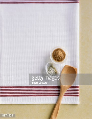 Raw sugar and fleur de sel : Stock Photo