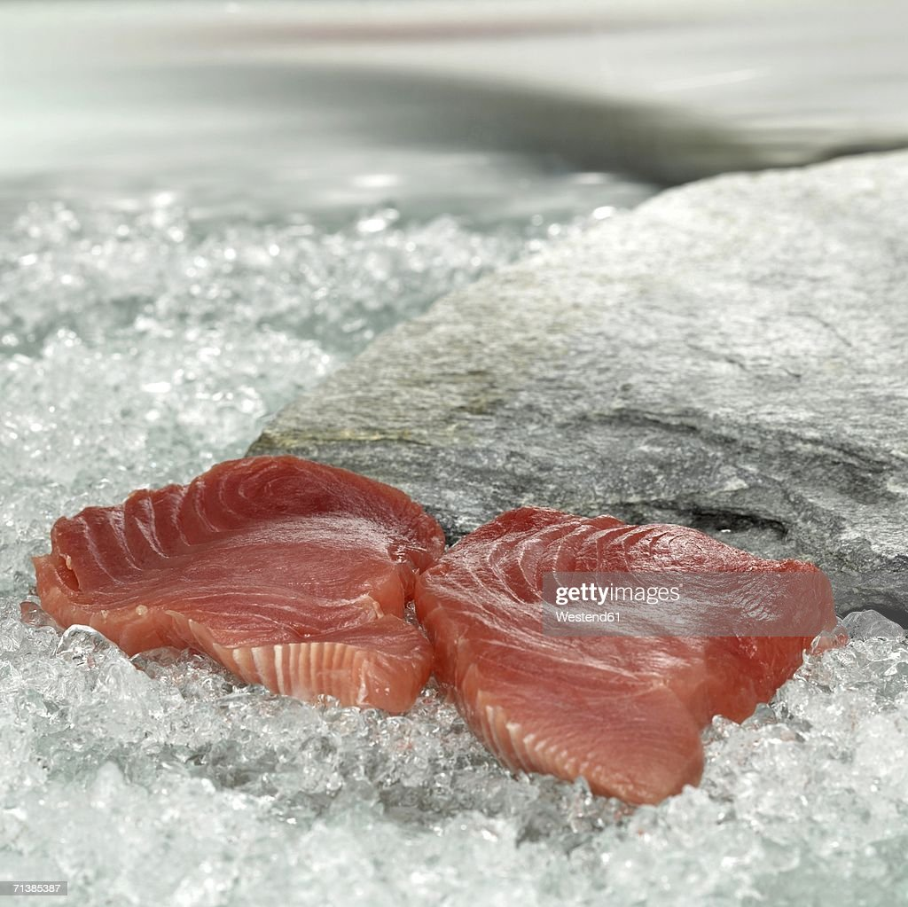 Raw tuna steaks on crushed ice, close-up