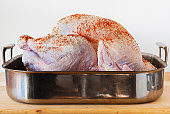 Raw turkey on roasting pan