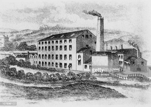 Rawfords Mill near Huddersfield Yorkshire circa 1810 The textile mill was the first of its kind to introduce mechanisation and was attacked by...