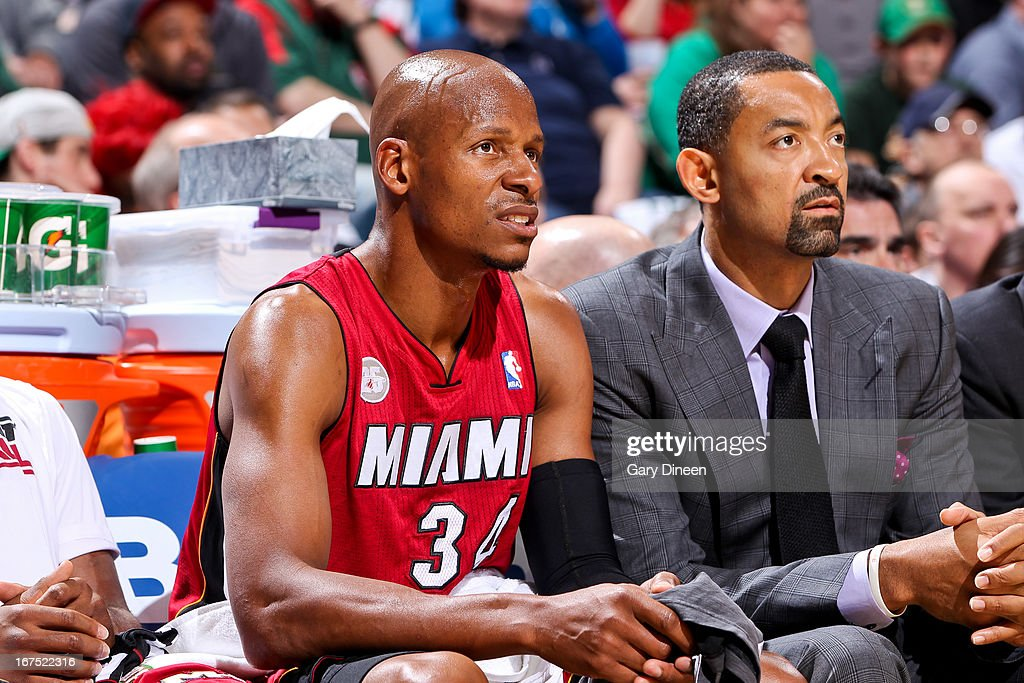 Ray Allen #34 and Juwan Howard #5 of the Miami Heat look on from the bench as their teammates play against the Milwaukee Bucks in Game Three of the Eastern Conference Quarterfinals during the 2013 NBA Playoffs on April 25, 2013 at the BMO Harris Bradley Center in Milwaukee, Wisconsin.