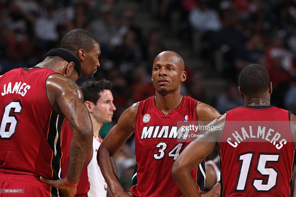 <a gi-track='captionPersonalityLinkClicked' href=/galleries/search?phrase=Ray+Allen&family=editorial&specificpeople=201511 ng-click='$event.stopPropagation()'>Ray Allen</a> #34 and the Miami Heat huddle up during the game against the Milwaukee Bucks in Game Four of the Eastern Conference Quarterfinals during the 2013 NBA Playoffs on April 28, 2013 at the BMO Harris Bradley Center in Milwaukee, Wisconsin.