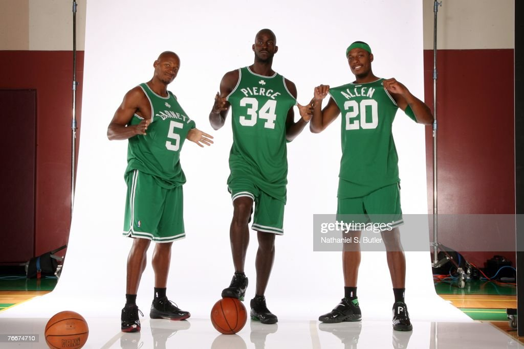 <a gi-track='captionPersonalityLinkClicked' href=/galleries/search?phrase=Ray+Allen&family=editorial&specificpeople=201511 ng-click='$event.stopPropagation()'>Ray Allen</a> #20, Kevin Garnett #5 and Paul Pierce #34 of the Boston Celtics pose during a portrait session at the Boston Celtics practice facility September 10, 2007 in Waltham, Massachusetts.