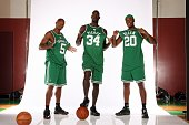 Ray Allen Kevin Garnett and Paul Pierce of the Boston Celtics pose during a portrait session at the Boston Celtics practice facility September 10...
