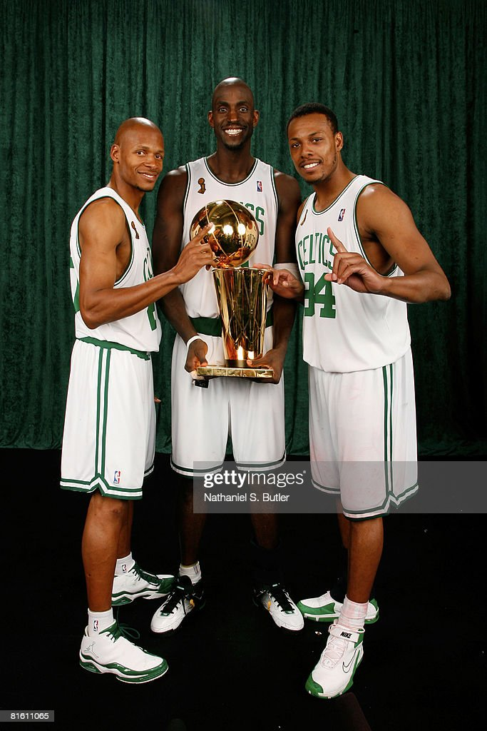 <a gi-track='captionPersonalityLinkClicked' href=/galleries/search?phrase=Ray+Allen&family=editorial&specificpeople=201511 ng-click='$event.stopPropagation()'>Ray Allen</a> #20, Kevin Garnett #5, and Paul Pierce #34 of the Boston Celtics poses for a portrait with the Larry O'Brien trophy after defeating the Los Angeles Lakers in Game Six of the 2008 NBA Finals on June 17, 2008 at TD Banknorth Garden in Boston, Massachusetts. The Boston Celtics won 131-92.