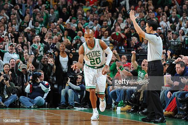 Ray Allen of the Boston Celtics celebrates during the game against the Utah Jazz on January 21 2011 at the TD Garden in Boston Massachusetts NOTE TO...