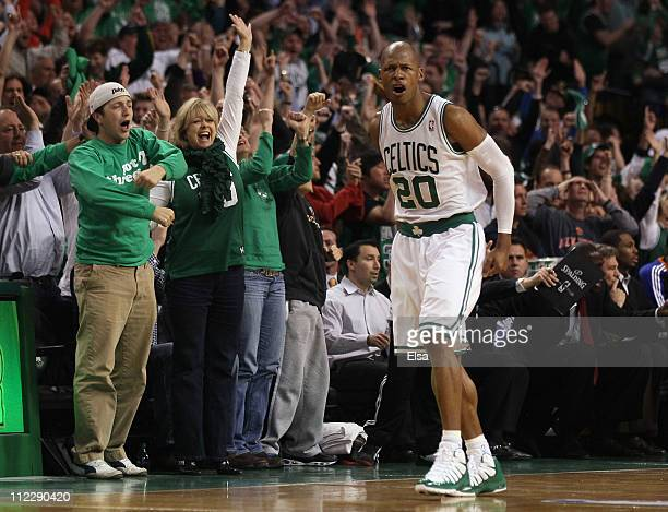 Ray Allen of the Boston Celtics celebrates his game winning basket in the final seconds of the game against the New York Knicks in Game One of the...