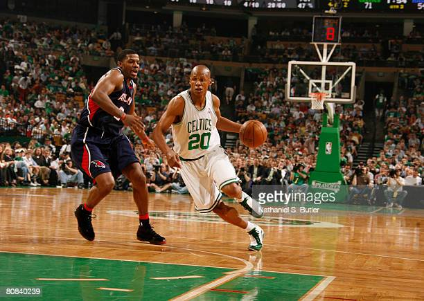 Ray Allen of the Boston Celtics drives against Joe Johnson of the Atlanta Hawks in Game Two of the Eastern Conference Quarterfinals during the 2008...