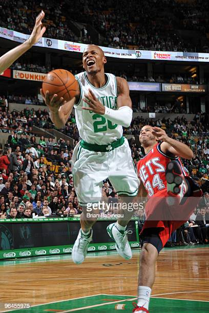 Ray Allen of the Boston Celtics drives the lane against Devin Harris of the New Jersey Nets on February 5 2010 at the TD Garden in Boston...