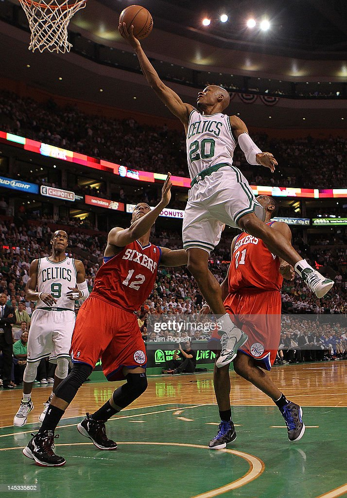 <a gi-track='captionPersonalityLinkClicked' href=/galleries/search?phrase=Ray+Allen&family=editorial&specificpeople=201511 ng-click='$event.stopPropagation()'>Ray Allen</a> #20 of the Boston Celtics drives to the basket for a layup in front of <a gi-track='captionPersonalityLinkClicked' href=/galleries/search?phrase=Evan+Turner&family=editorial&specificpeople=4665764 ng-click='$event.stopPropagation()'>Evan Turner</a> #12 of the Philadelphia 76ers during Game Seven of the Eastern Conference Semifinals during the 2012 NBA Playoffs on May 26, 2012 at TD Garden in Boston, Massachusetts.
