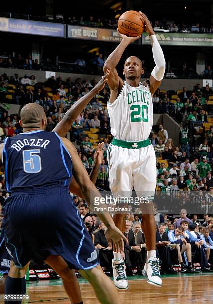Ray Allen of the Boston Celtics goes up for a shot during the game against the Utah Jazz on November 11 2009 at the TD Garden in Boston Massachusetts...