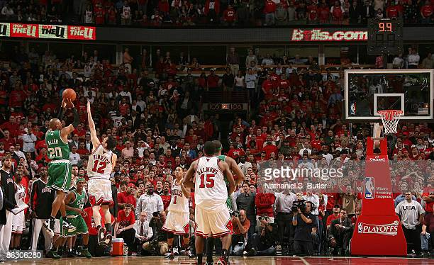 Ray Allen of the Boston Celtics hits a shot over Kirk Hinrich of the Chicago Bulls to tie Game Six of the Eastern Conference Quarterfinals sending it...