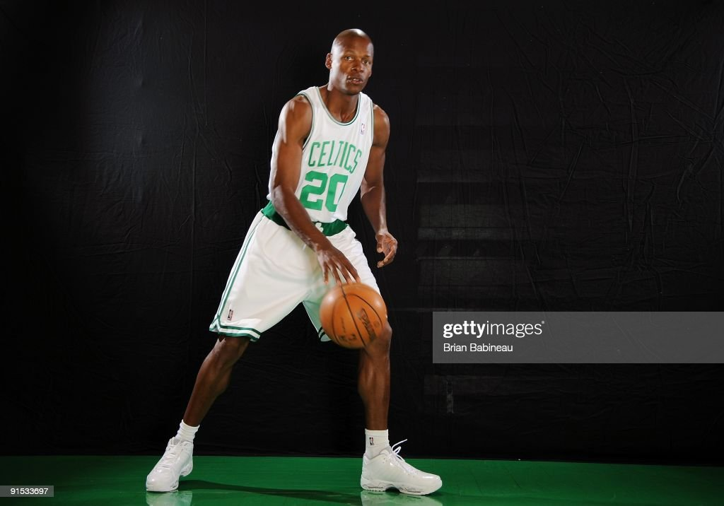 <a gi-track='captionPersonalityLinkClicked' href=/galleries/search?phrase=Ray+Allen&family=editorial&specificpeople=201511 ng-click='$event.stopPropagation()'>Ray Allen</a> #20 of the Boston Celtics poses for a portrait during the 2009 NBA Media Day on September 28, 2009 at Healthpoint in Waltham, Massachusetts.