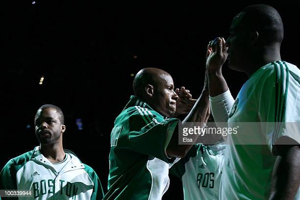 Ray Allen of the Boston Celtics runs on the court during player introductions against the Orlando Magic at TD Banknorth Garden in Game Three of the...