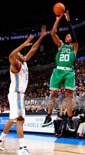 Ray Allen of the Boston Celtics shoots a jump shot against Jeff Green of the Oklahoma City Thunder at the Ford Center on November 5 2008 in Oklahoma...