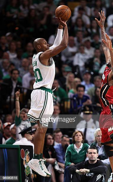 Ray Allen of the Boston Celtics shoots a three pointer in the fourth quarter against the Miami Heat during Game Two of the Eastern Conference...