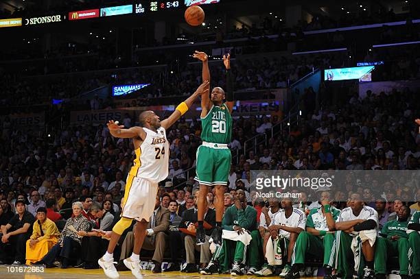 Ray Allen of the Boston Celtics shoots against Kobe Bryant of the Los Angeles Lakers in Game Two of the 2010 NBA Finals on June 6 2010 at Staples...