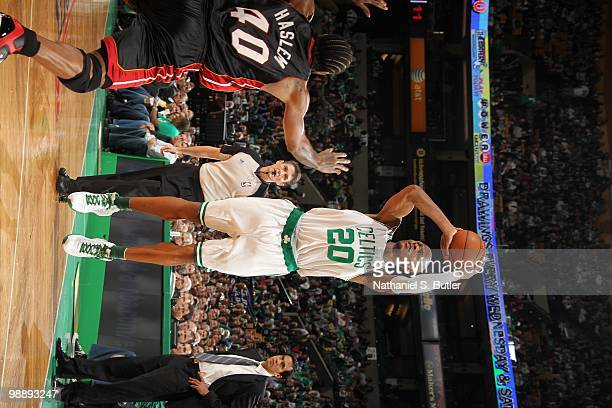 Ray Allen of the Boston Celtics shoots against Michael Beasley of the Miami Heat in Game Five of the Eastern Conference Quarterfinals during the 2010...