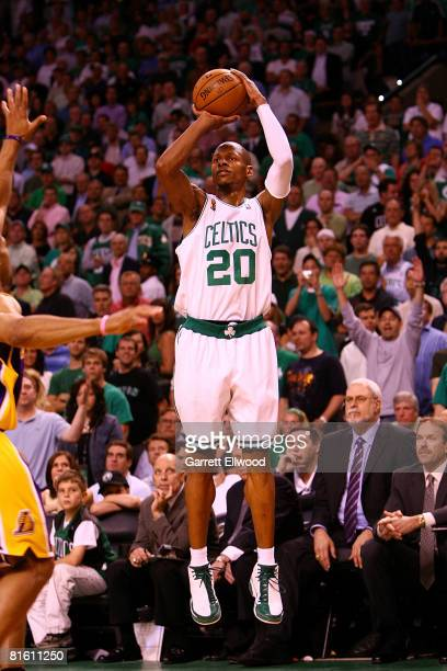 Ray Allen of the Boston Celtics shoots against the Los Angeles Lakers in Game Six of the 2008 NBA Finals on June 17 2008 at the TD Banknorth Garden...
