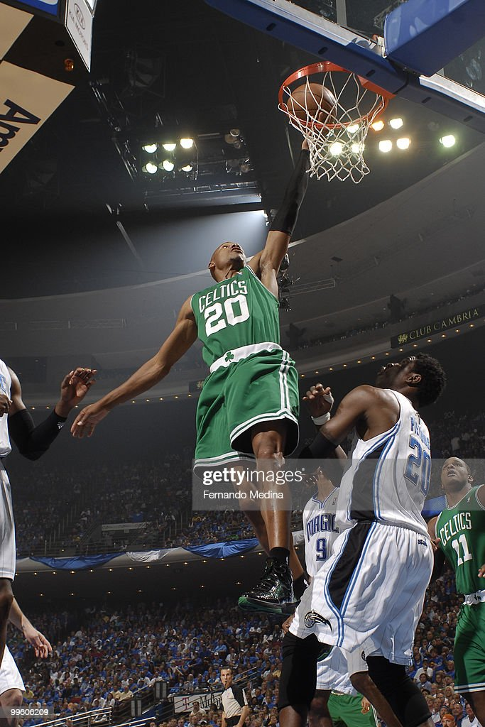 Ray Allen #20 of the Boston Celtics shoots against the Orlando Magic in Game One of the Eastern Conference Finals during the 2010 NBA Playoffs on May 16, 2010 at Amway Arena in Orlando, Florida.