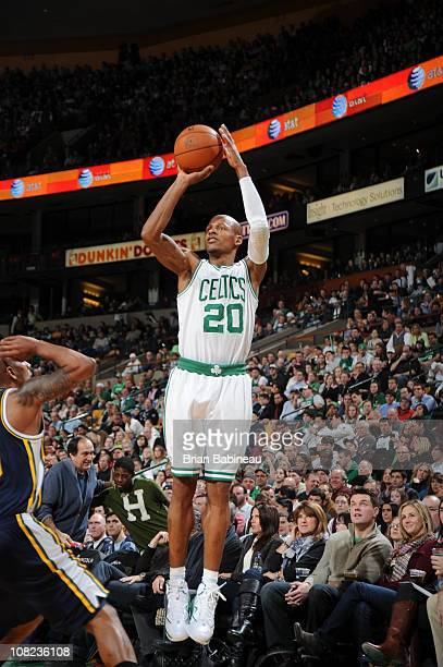 Ray Allen of the Boston Celtics shoots against the Utah Jazz during the game on January 21 2011 at the TD Garden in Boston Massachusetts NOTE TO USER...