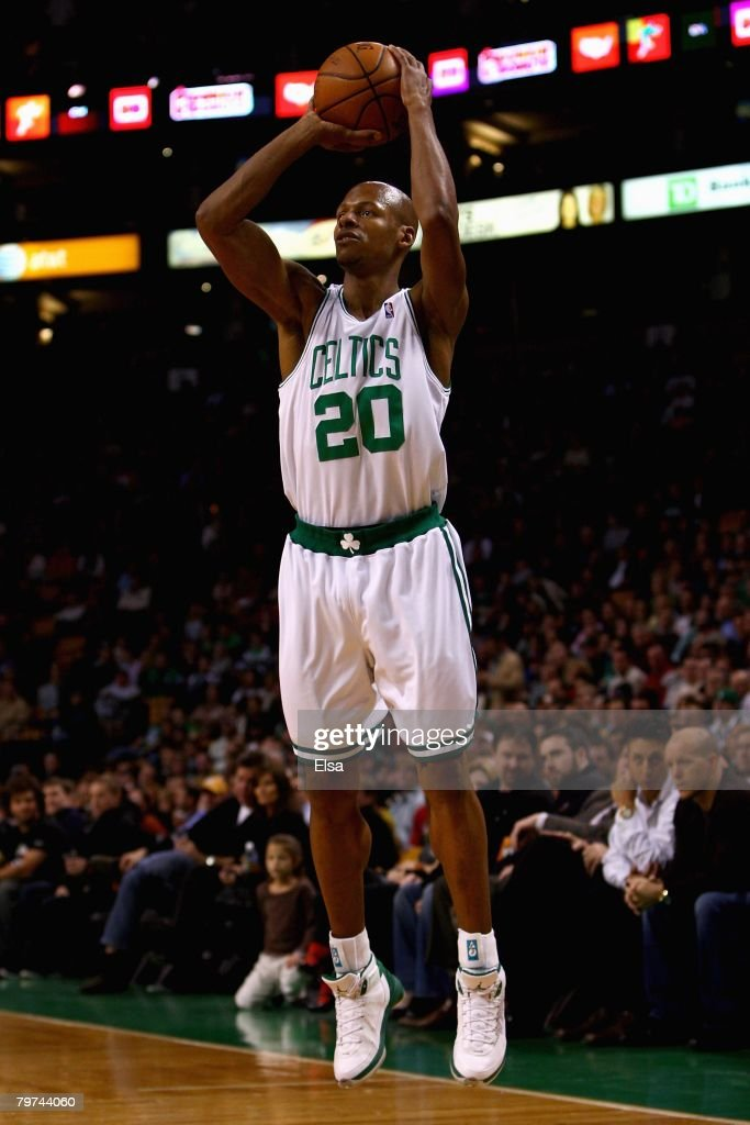 Ray Allen #20 of the Boston Celtics shoots during the game against the Toronto Raptors on January 23, 2008 at the TD Banknorth Garden in Boston, Massachusetts. The Raptors won 114-112.
