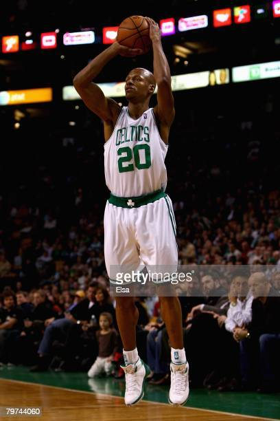 Ray Allen of the Boston Celtics shoots during the game against the Toronto Raptors on January 23 2008 at the TD Banknorth Garden in Boston...