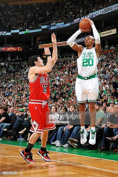 Ray Allen of the Boston Celtics shoots over Kirk Hinrich of the Chicago Bulls in Game Seven of the Eastern Conference Quarterfinals during the 2009...