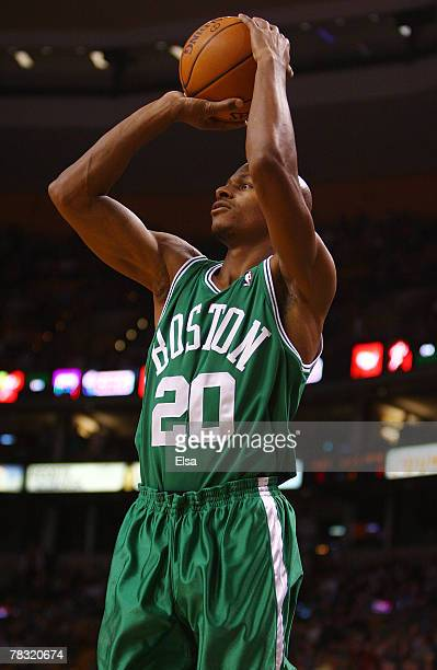 Ray Allen of the Boston Celtics takes a shot in the first quarter against the Toronto Raptors on December 7 2007 at the TD Banknorth Garden in Boston...