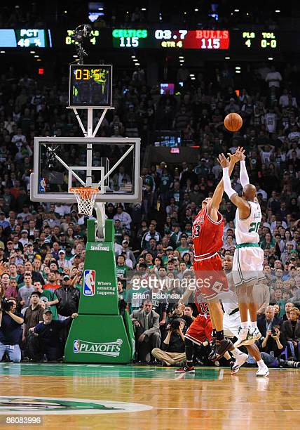 Ray Allen of the Boston Celtics takes the game winning shot against Joakim Noah of the Chicago Bulls in Game Two of the Eastern Conference...