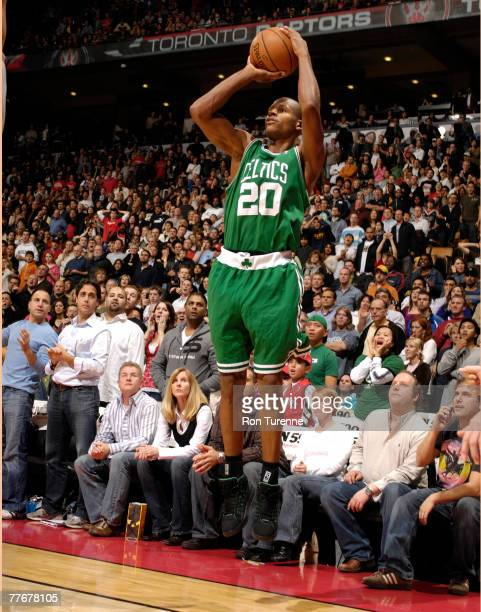 Ray Allen of the Boston Celtics takes the game winning shot with four seconds left in overtime against the Toronto Raptors at the Air Canada Centre...