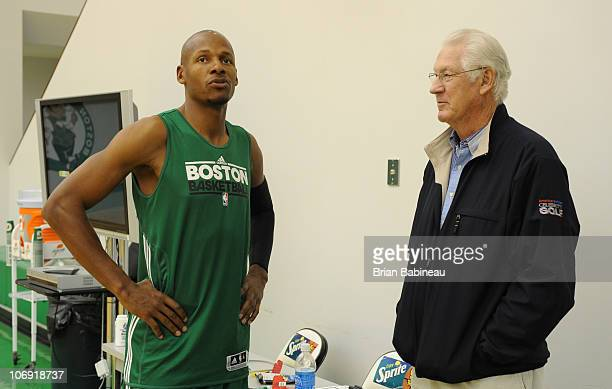 Ray Allen of the Boston Celtics talks with John Havlicek before practice on November 16 2010 at the Boston Sports Club in Waltham Massachusetts NOTE...