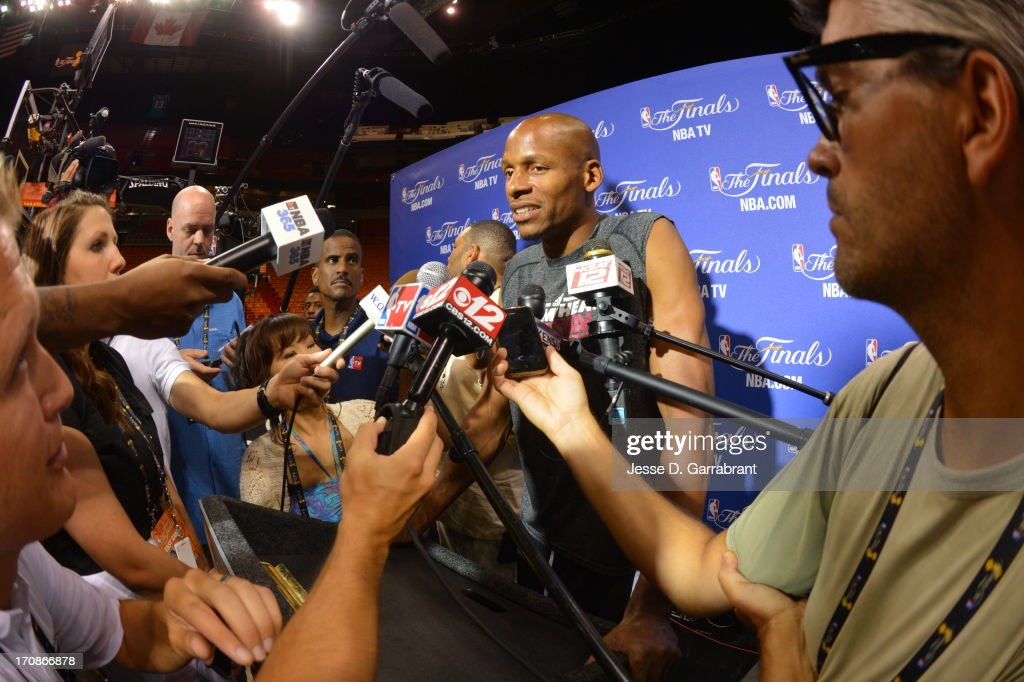 Ray Allen of the Miami Heat addresses the media as part of the 2013 NBA Finals on June 19, 2013 at American Airlines Arena in Miami, Florida.