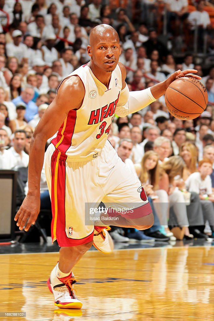 Ray Allen #34 of the Miami Heat advances the ball against the Chicago Bulls in Game One of the Eastern Conference Semifinals during the 2013 NBA Playoffs on May 6, 2013 at American Airlines Arena in Miami, Florida.