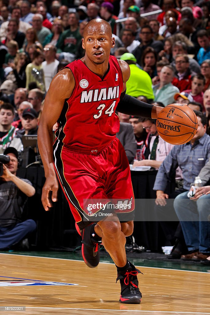 <a gi-track='captionPersonalityLinkClicked' href=/galleries/search?phrase=Ray+Allen&family=editorial&specificpeople=201511 ng-click='$event.stopPropagation()'>Ray Allen</a> #34 of the Miami Heat advances the ball against the Milwaukee Bucks in Game Three of the Eastern Conference Quarterfinals during the 2013 NBA Playoffs on April 25, 2013 at the BMO Harris Bradley Center in Milwaukee, Wisconsin.