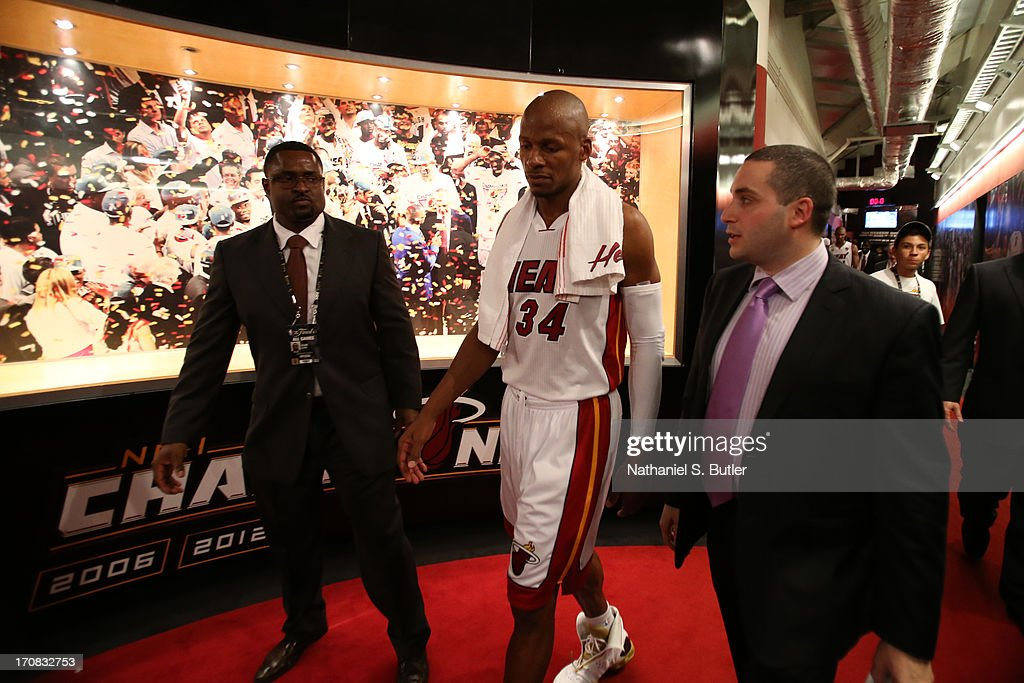Ray Allen #34 of the Miami Heat after playing against the San Antonio Spurs in Game Six of the 2013 NBA Finals on June 18, 2013 at American Airlines Arena in Miami, Florida.
