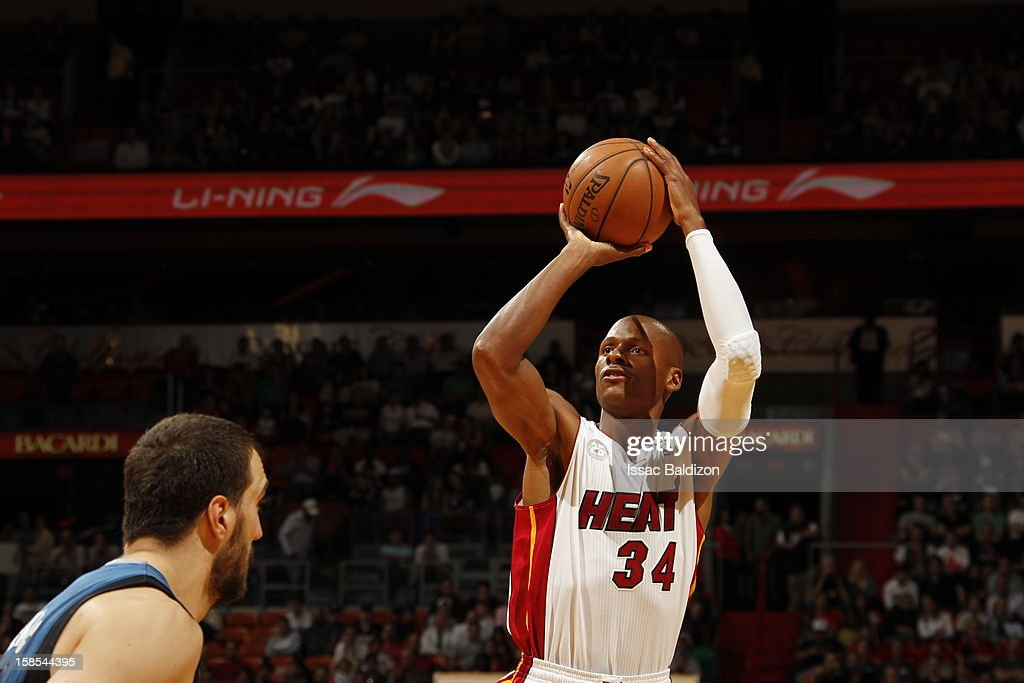 <a gi-track='captionPersonalityLinkClicked' href=/galleries/search?phrase=Ray+Allen&family=editorial&specificpeople=201511 ng-click='$event.stopPropagation()'>Ray Allen</a> #34 of the Miami Heat aims for a shot during a game between the Minnesota Timberwolves and the Miami Heat on December 18, 2012 at American Airlines Arena in Miami, Florida.